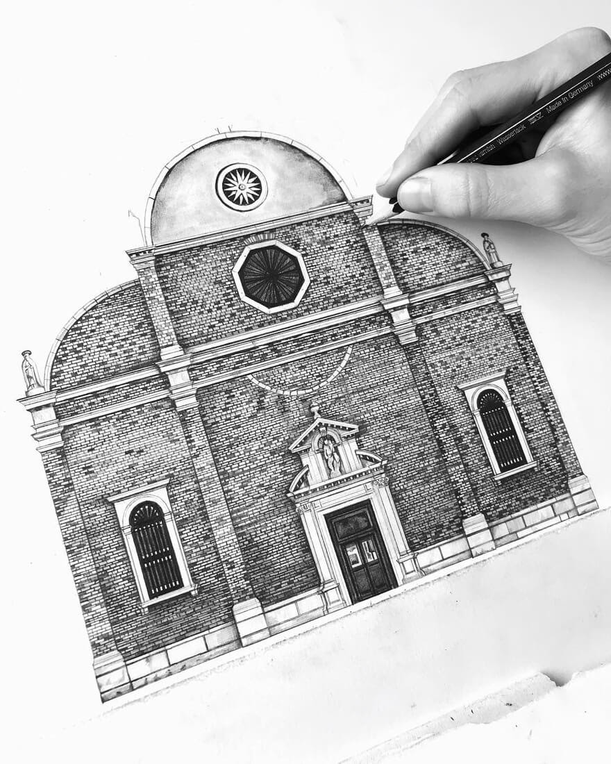 08-Naples-Italy-Minty-Sainsbury-Traditional-Architecture-Drawings-in-Pencil-www-designstack-co