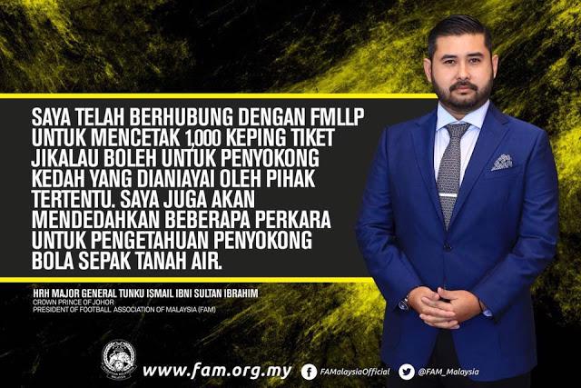 TMJ Umum 1000 Tambahan Tiket Percuma Kepada Penyokong Kedah, Turut Dedahkan Siapa Dalang Sebalik Penipuan Itu!