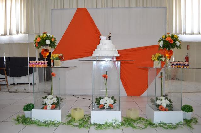 Buffet e Decorações Decoração para casamento Laranja e Branco