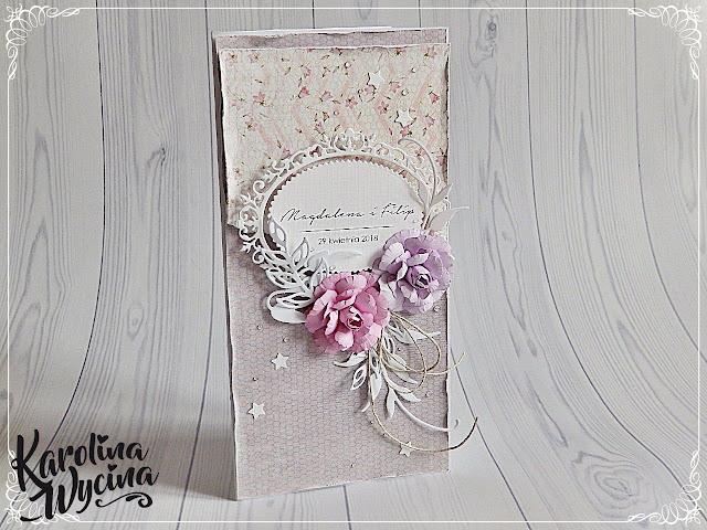 Prawie majówkowa romantiko kartka ślubna w formacie DL
