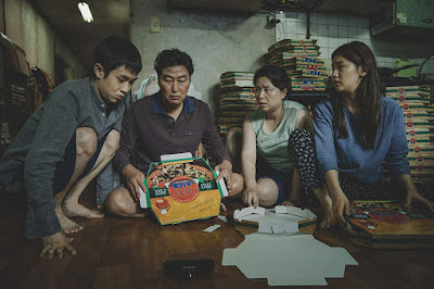 "Woo-sik Choi, Kang-ho Song, Hye-jin Jang, and So-dam Park in Bong Joon-ho's ""Parasite"" (2019)"