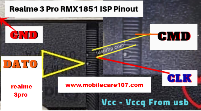 Oppo Realme 3 pro RMX1851 Isp eMMc Direct Pinout - Mobile Care