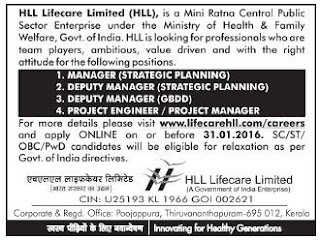 Online Applications are invited for various managerial and engineering posts in HLL Lifecare Ltd Kochi