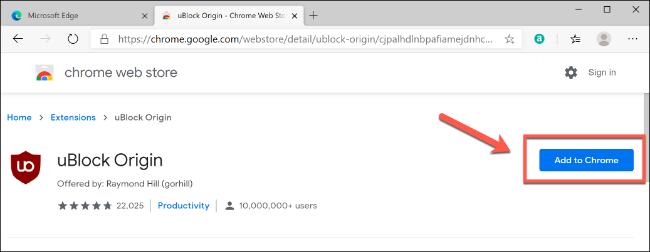 """انقر فوق """"إضافة إلى Chrome"""" لتثبيت ملحق Chrome في Edge"""