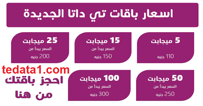 """شرح الإشتراك في عروض باقات الانترنت 100 ميجا من تي داتا """" WE """" مصر"""