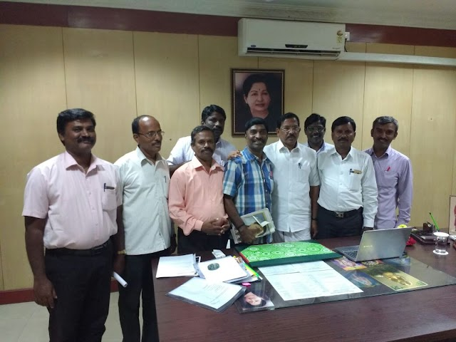 TNPPGTA state office bearers with school education department hon ' ble minister K. Pandiarajan in chennai