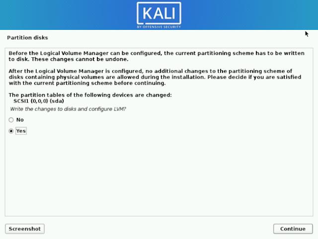 Konfirmasi Proses Instalasi Kali Linux Pada Hardisk
