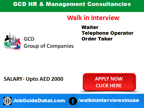 Job in Dubai for Waiter, Waitress, Oder Taker and Telephone operator