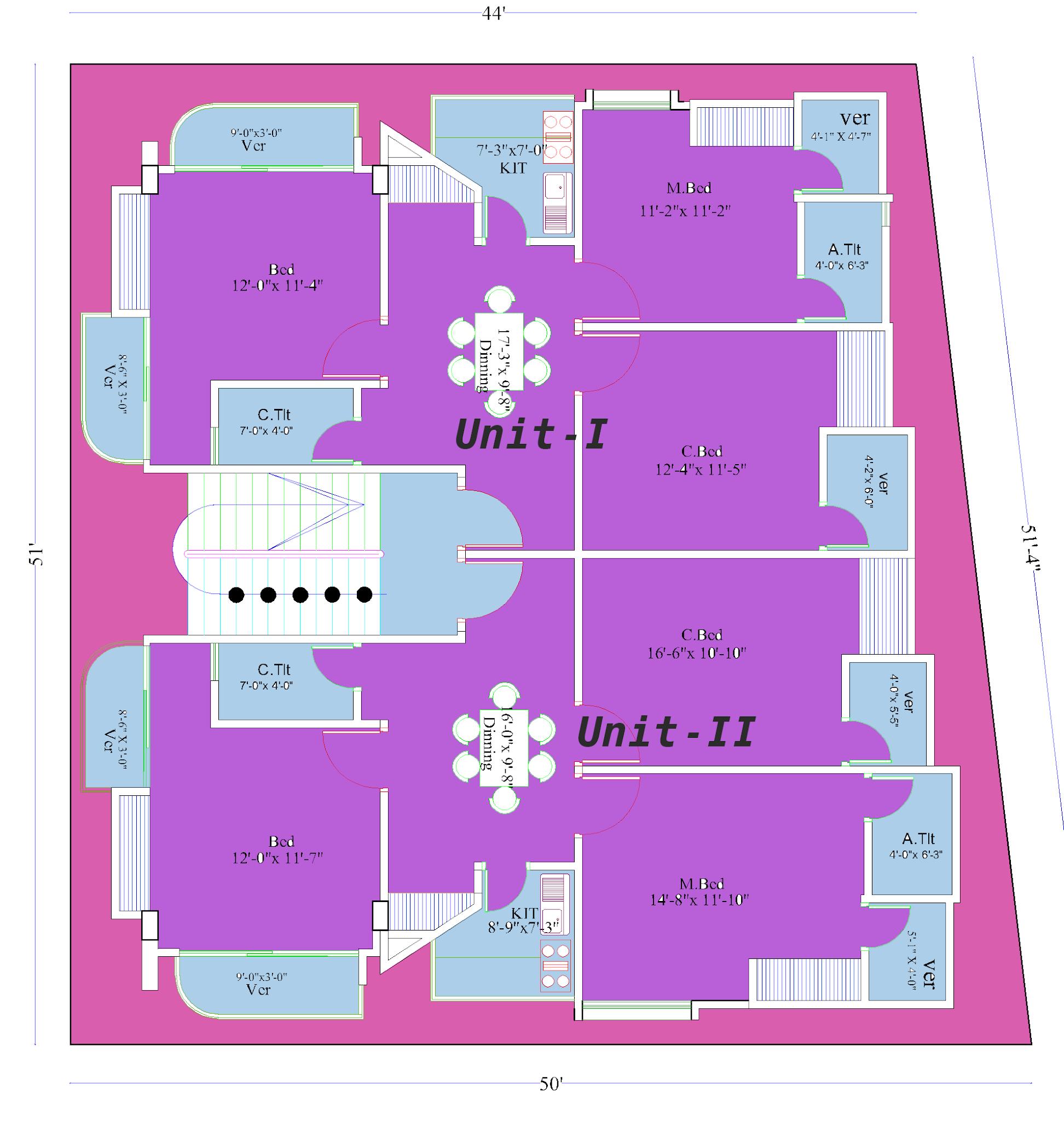 2400 sq ft house plan two units