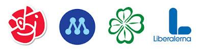 De fyra partiernas logotyper på rad.