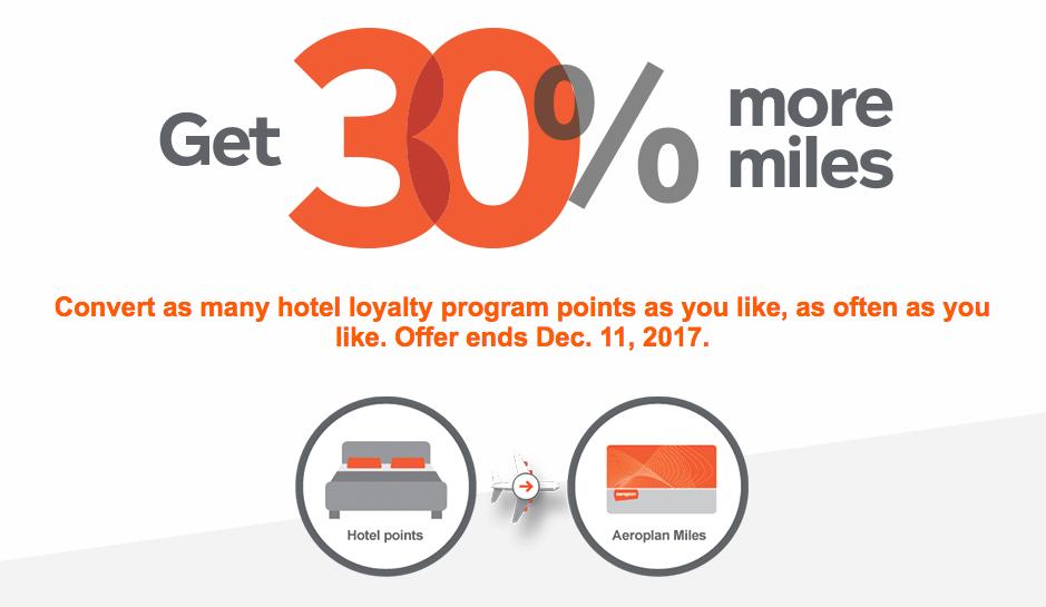 30 Bonus Aeroplan Miles When You Convert Hotel Loyalty Program Points To Until December 11