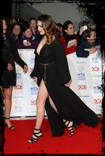 Kelly brook Busty rounded boobs with nipple show tease our rod. Also her seductive look with a black sparkly Sunita Mukhi clutch bag and towering strappy heels.