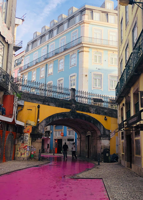 pink street lisboa portugal