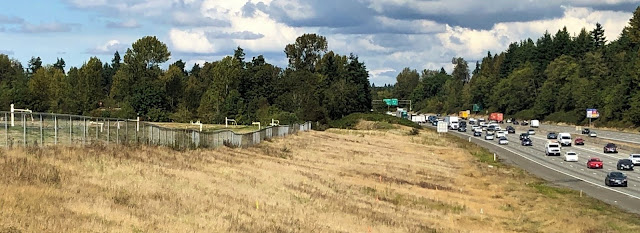 Grassy land slopes from left to right to a freeway on the right. Above these, in the background, are green trees and a partly cloudy sky.