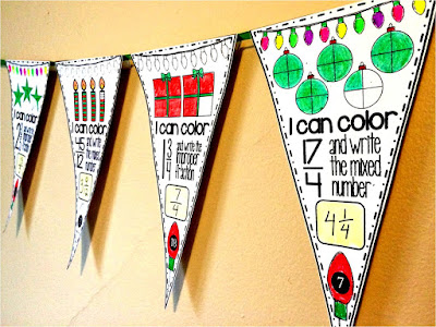 Christmas Fractions Math pennant