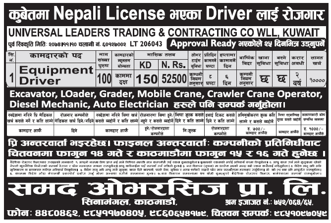 Jobs in Kuwait for Nepali, Salary Rs 52,500