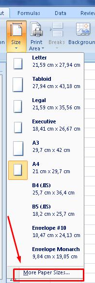 ukuran kertas f4 di excel