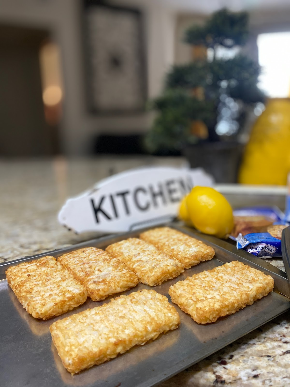 Cooking hash browns in kitchen:  Toot -Toot: If I Must Be In The Kitchen!