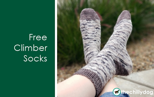 Free Climber Socks Knitting Pattern - gender neutral with multiple sizing options. Worked from the toe up, with wrap and turn short row toes and flap-free, gusset (or Fleegle) heels.