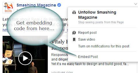 Facebook post embedding option