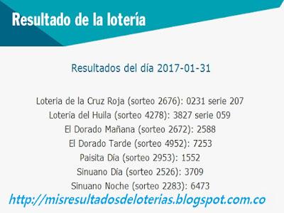 Loterias de Hoy - Resultados diarios de la Lotería y el Chance - Enero 31 2017
