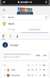 Google Canada Raccourci Sports