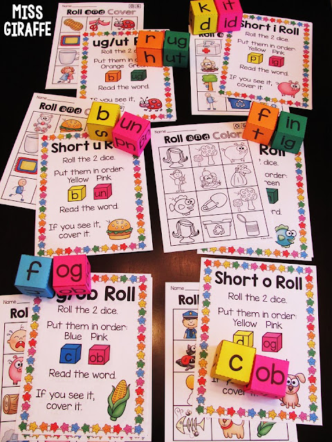 Short vowel word family games to practice reading CVC words!