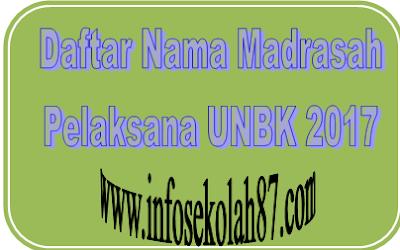 Daftar Nama Madrasah Pelaksana Ujian Berbasis Komputer (UNBK) 2017