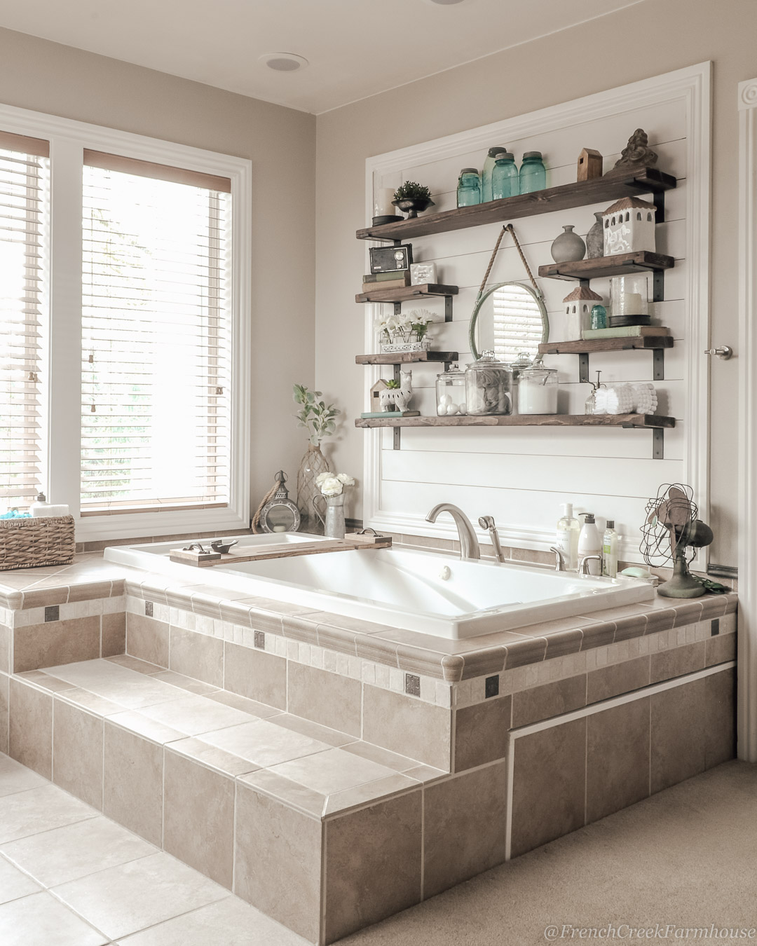 Our master bathroom is just one of the places we have added shiplap accent walls