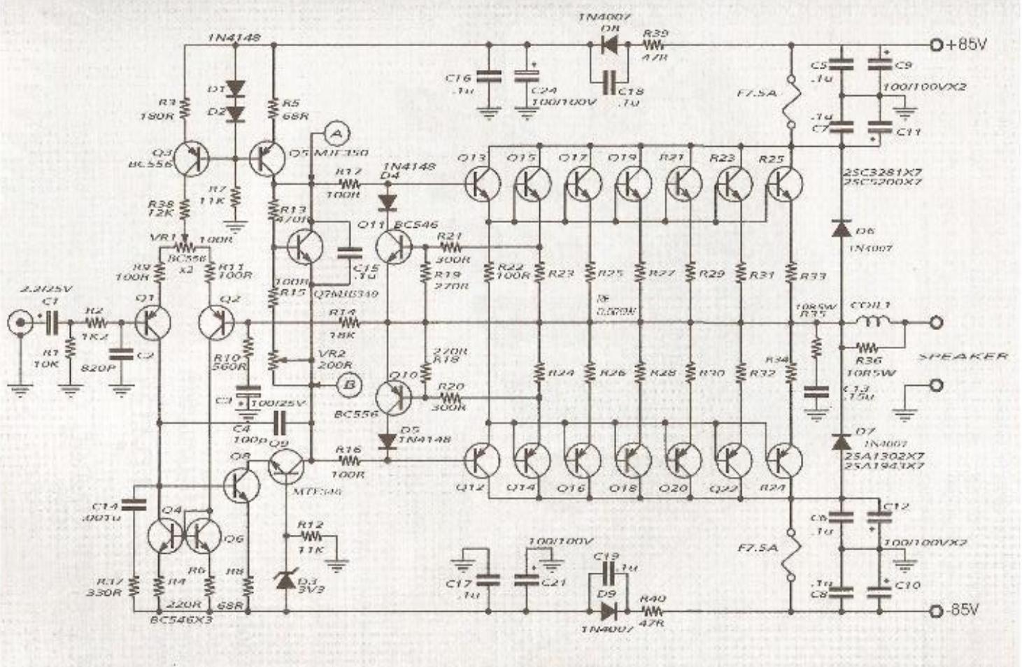 Eletrônica Free Circuits: Esquema amplificador 600W.