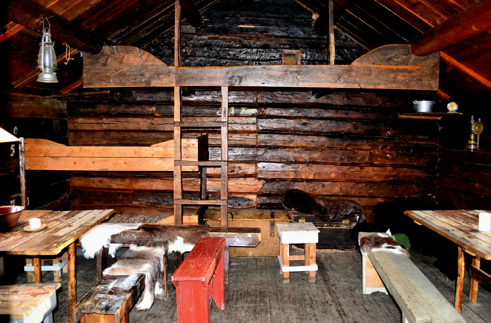 Along the back wall were bunk beds that could sleep up to 12 men.
