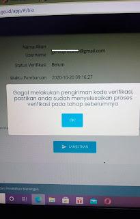 Gagal melakukan pengiriman kode verifikasi dapodik