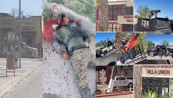 Tras fuerte topon entre SEDENA y sicarios del CDN, dejan 5 sicarios despanzurrados y trocas calcinadas en Villa Unión, Coahuila