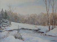 Grisaille d'hiver, paysage de neige avec forêt et étang non gelé, huile 12 x 16, par Clémence St-Laurent