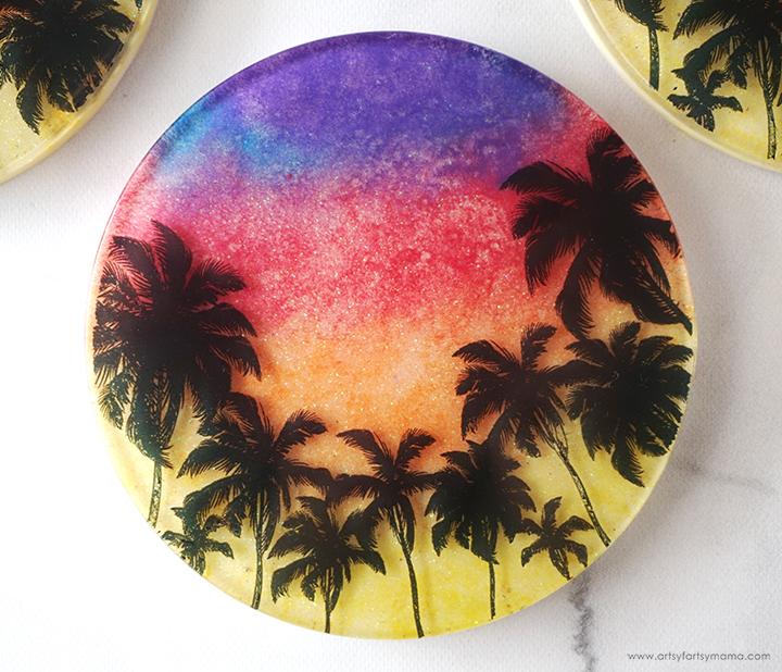 Resin Sunset Coaster Closeup