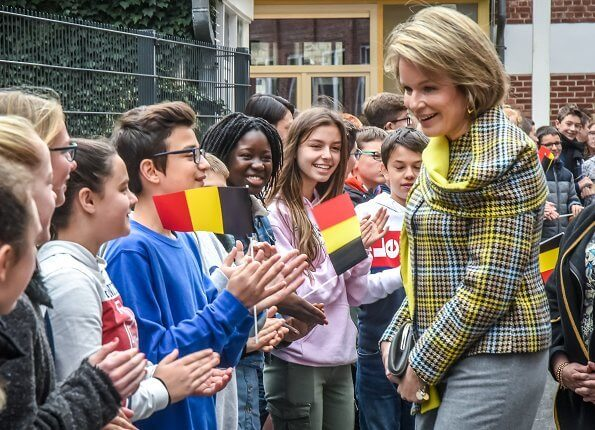 Queen Mathilde wore a new plaid multicolor coat by Natan. Natan coat from Fall/Winter 2019 collection