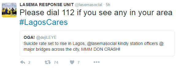 Call 112 if you see anyone committing suicide because of MMM! - Lagos Govt