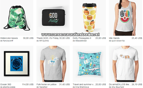 Productos en Redbubble