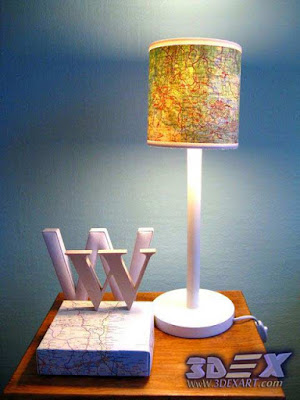 diy lampshade with maps, world map artwork, world map art decor and fixture