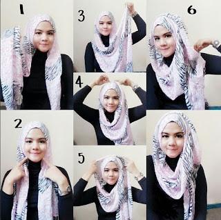 Hijab Pashmina Bercorak Modern