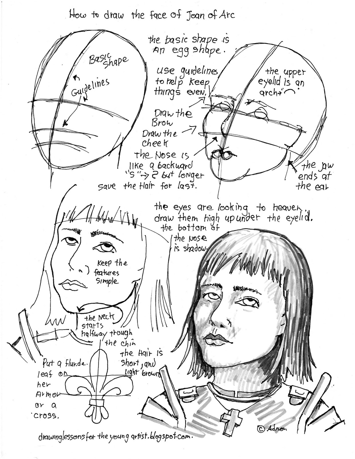 How To Draw Worksheets For The Young Artist How To Draw The Face Of Joan Of Arc Jeanne D Arc