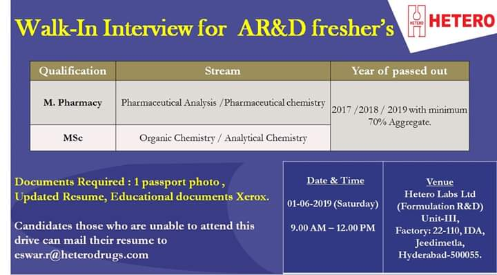 Hetero lab Ltd walk-in interview for AR and D on 1st June