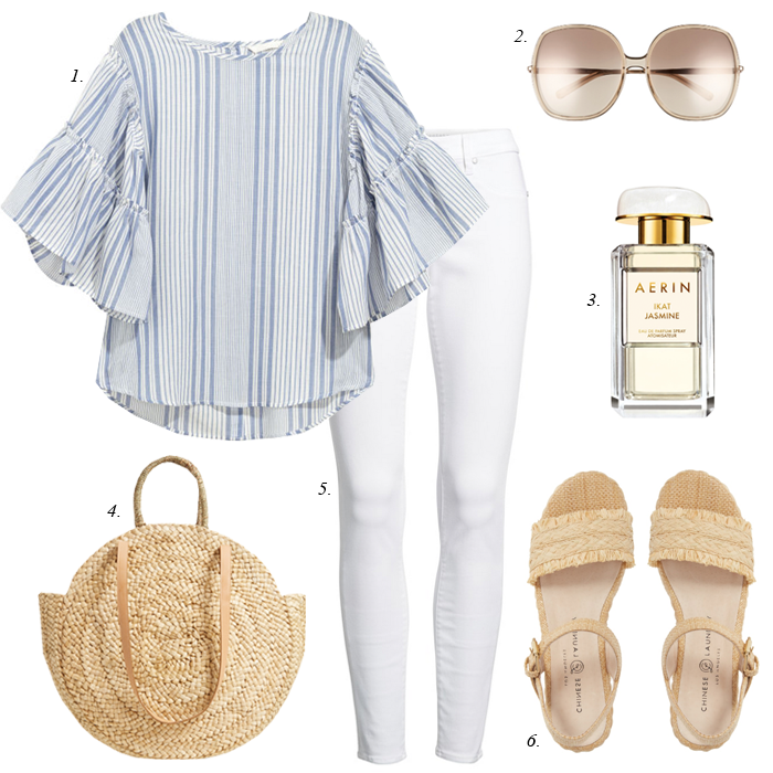 white jeans, circular straw bag, striped ruffle top