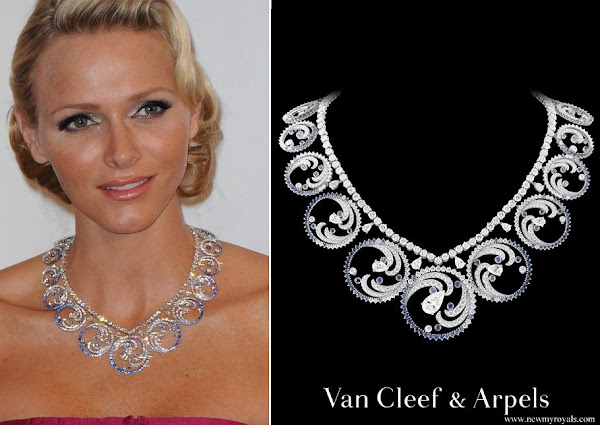 Princess Charlene dons Van Cleef and Arpels Ocean Tiara Necklace