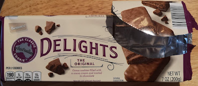 The packaging of Benton's Delights: The Original Triple Chocolate Australian Cookie, from Aldi