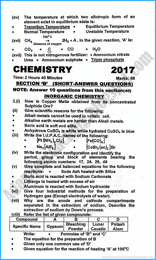 chemistry exam paper 2 A data sheet with periodic table is supplied with all chemistry 1 exam papers you should consult this data sheet to see what equations and data you will be provided with however, note that as the sheet is common to all chemistry 1 units of study, much of the information presented is not required for the.