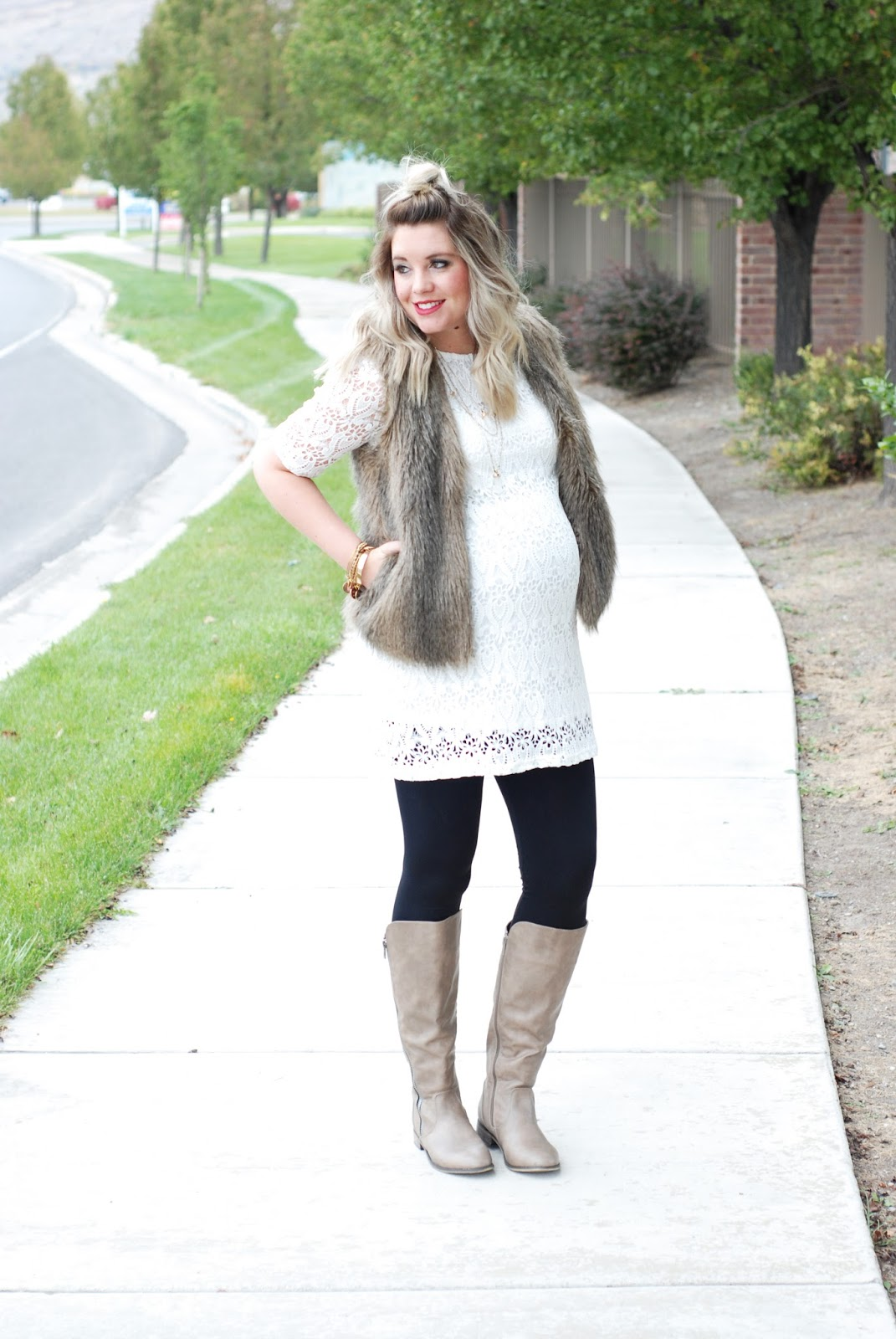 Journey Five, Lace Tunic, Fur Vest, Maternity Style