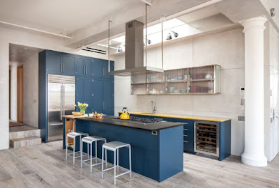 Black and yellow countertop with blue color kitchen furniture design ideas and glossy glass shelf