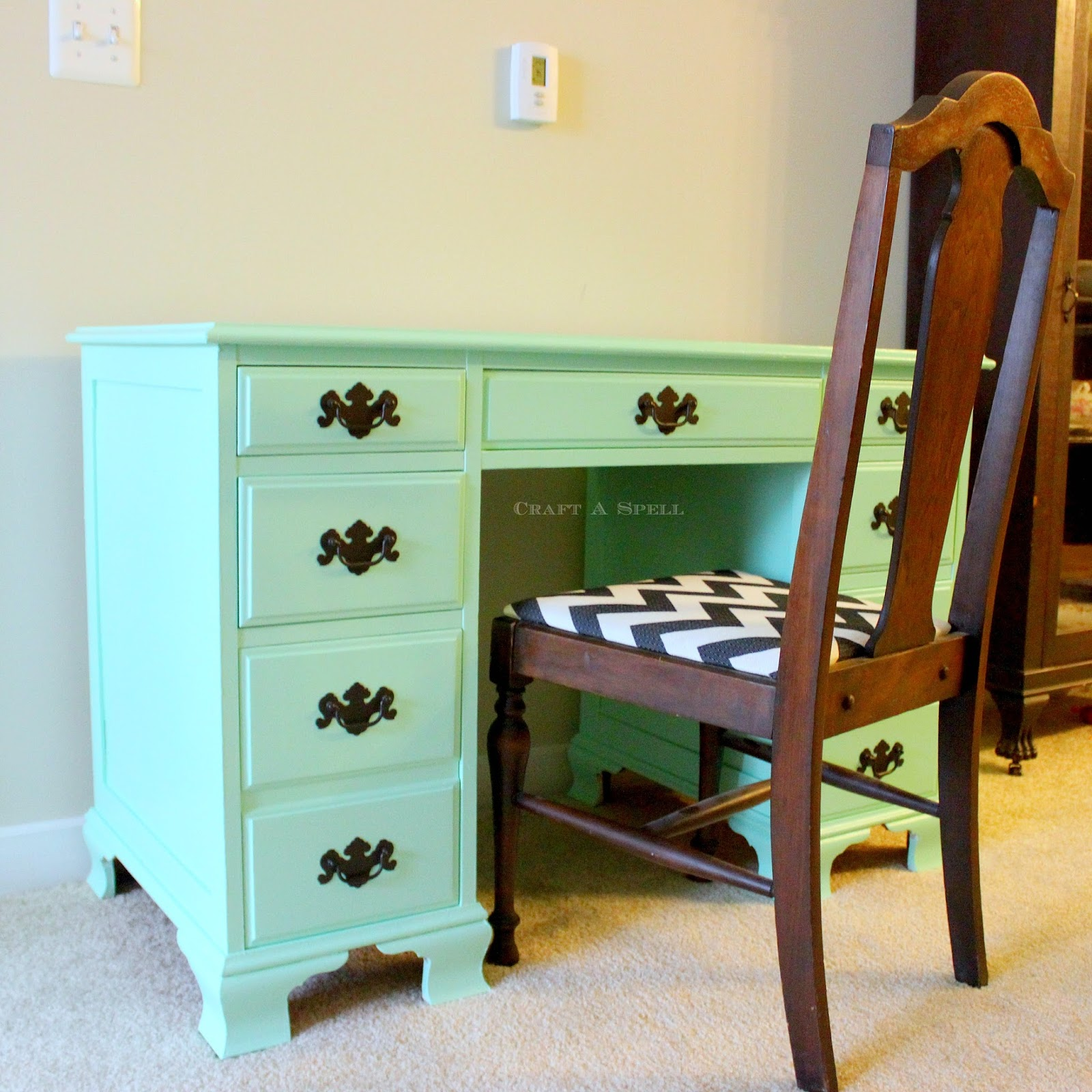 Here Is The Desk With My Newly Reupholstered Dining Room Chairs.
