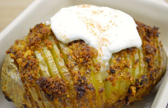 Smoked Hasselback Potatoes with Sour Cream